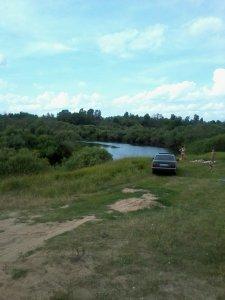 Места купания ярцевчан. Пляж на реке Вопь у Дуброво
